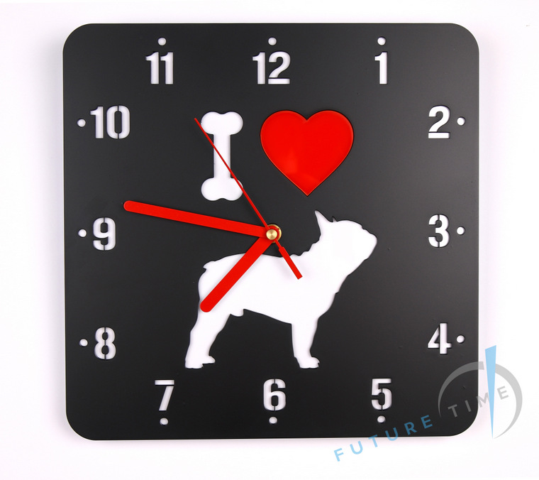 Wall clock - I love French Bulldog
